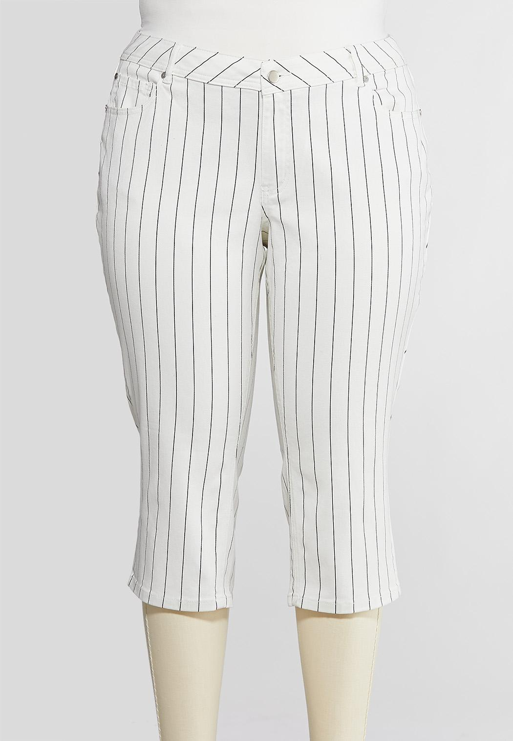 Plus Size Curvy Cropped Pinstripe Jeans