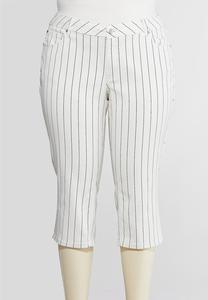 Plus Size Curvy Cropped Pinstripe Jeans