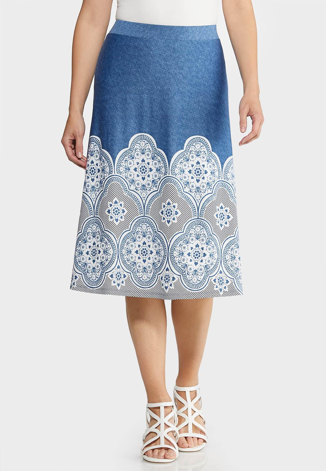 Blue Puff Medallion Skirt