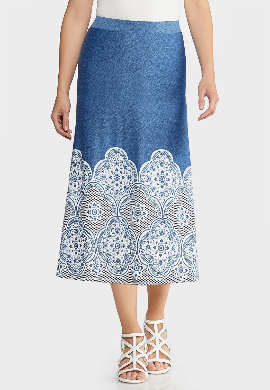 3bc2d924ac Plus Size Blue Puff Medallion Skirt Skirts Cato Fashions