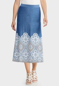 Plus Size Blue Puff Medallion Skirt