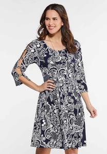 Seamed Puff Print Cold Shoulder Dress