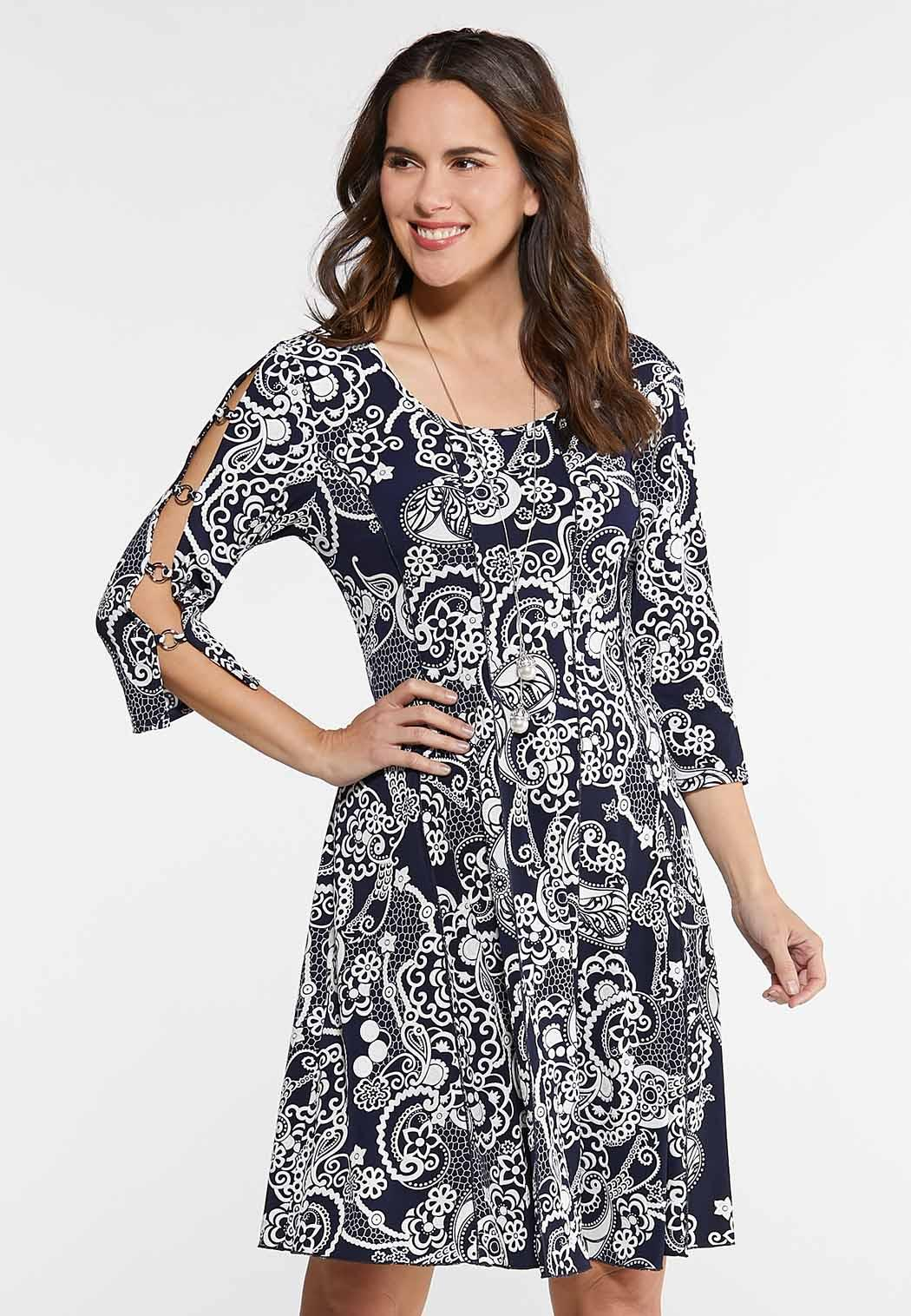 Plus Size Seamed Puff Print Cold Shoulder Dress