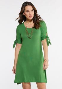 Plus Size Bow Sleeve Swing Dress