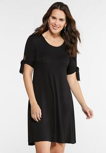 Plus Size Bow Sleeve Swing Dress