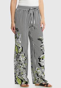 Floral Border Striped Palazzo Pants