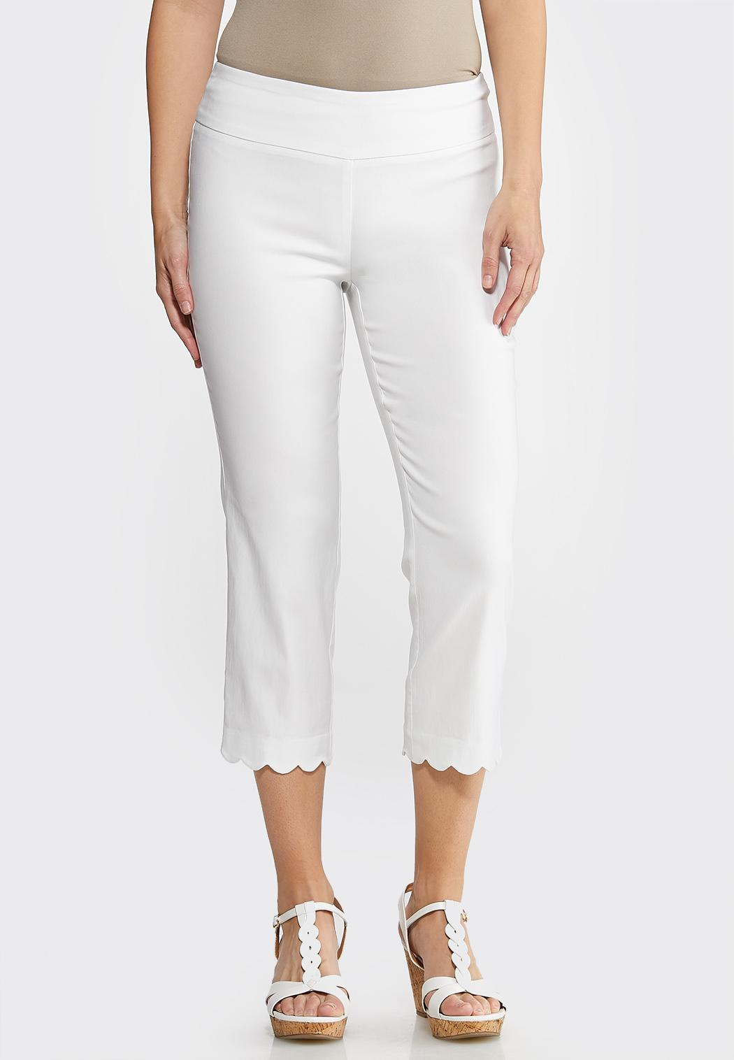 Cropped Scalloped Hem Pants