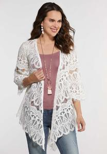 Plus Size Ivory Lace Kimono