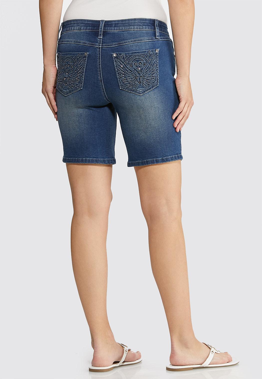 Embellished Denim Shorts