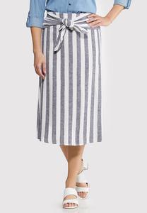 Stripe Tie Front Linen Skirt