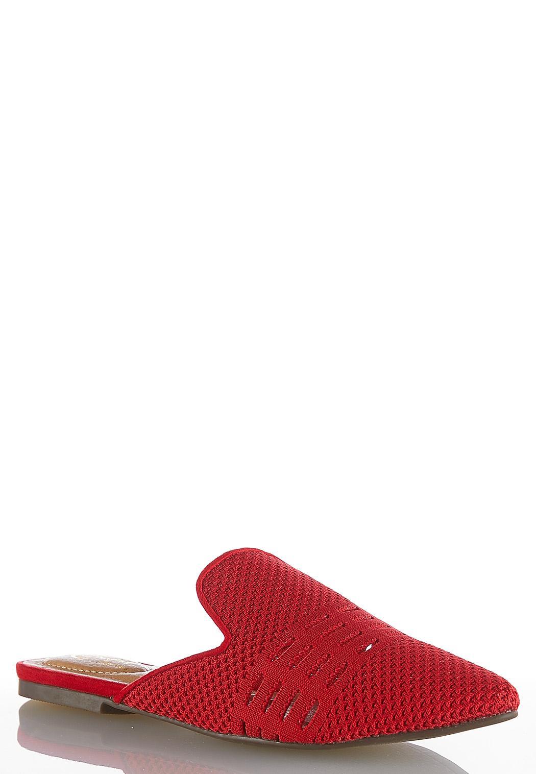 Stretch Knit Slip-On Mules