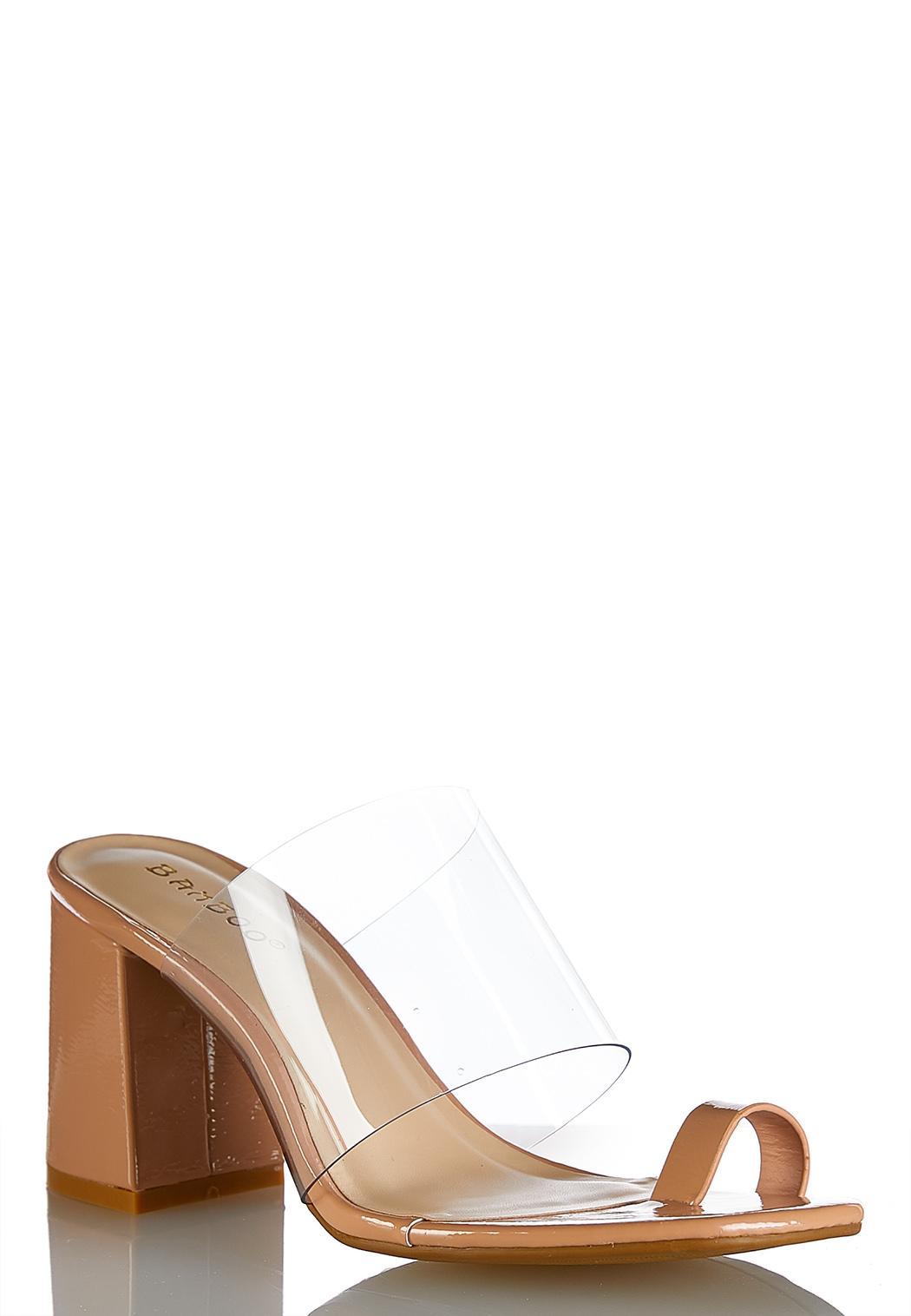 Lucite Toe Loop Heeled Sandals