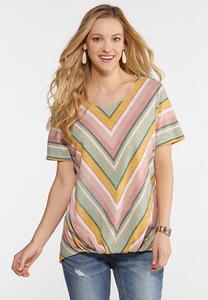Plus Size Mitered Stripe Top