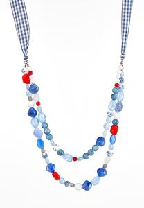 Gingham Ribbon And Bead Necklace