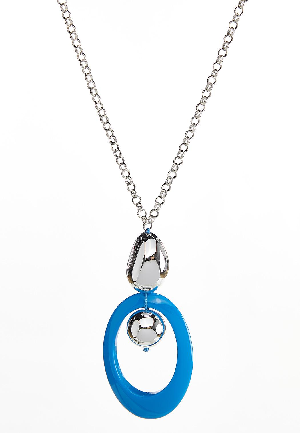 Beaded Oval Pendant Necklace