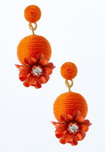 Floral Thread Wrapped Earrings