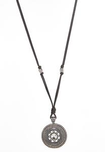 Round Disc Pendant Cord Necklace