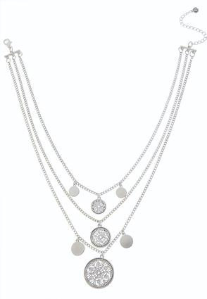 Medallion Coin Layered Chain Necklace