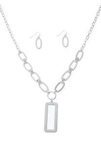 Square Linked Necklace And Earring Set