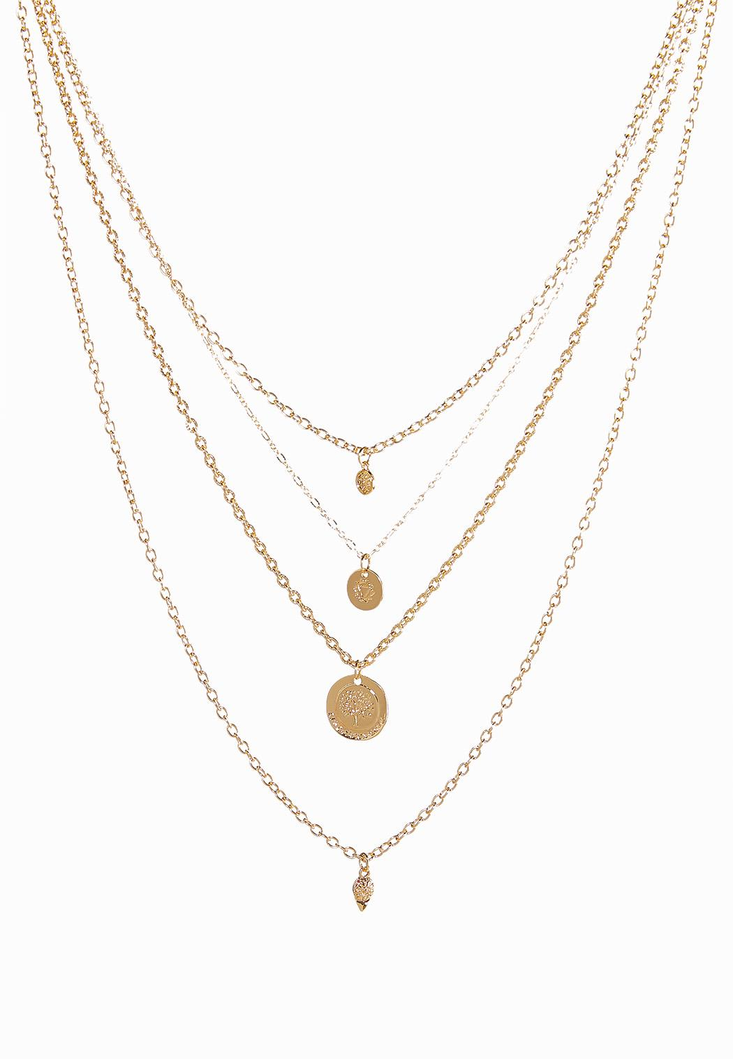 Layered Disk Pendant Necklace
