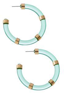 Lucite Metal Bar Hoop Earrings