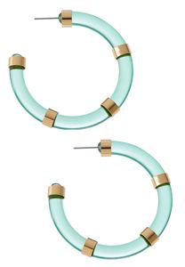Lucite Metal Bar Hoop Earrings