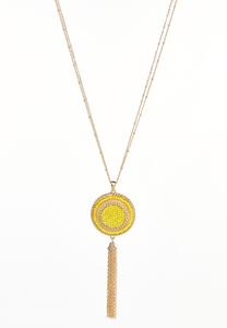 Double Chain Tasseled Pendant Necklace