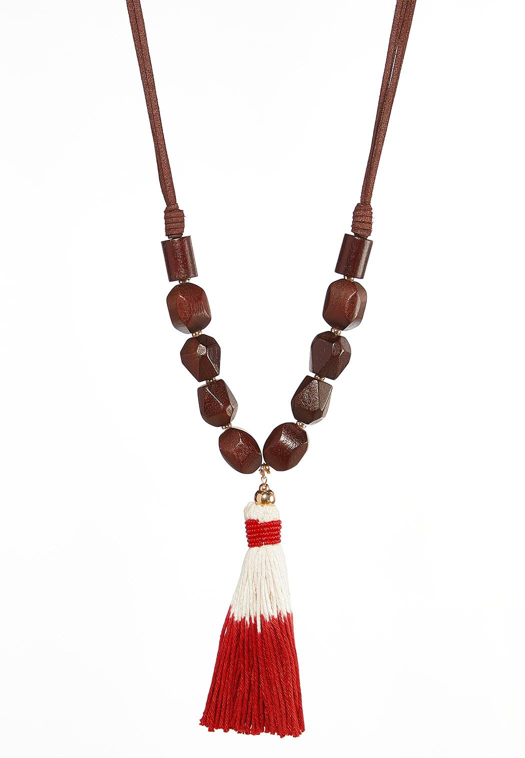 Wooden Dyed Tassel Necklace