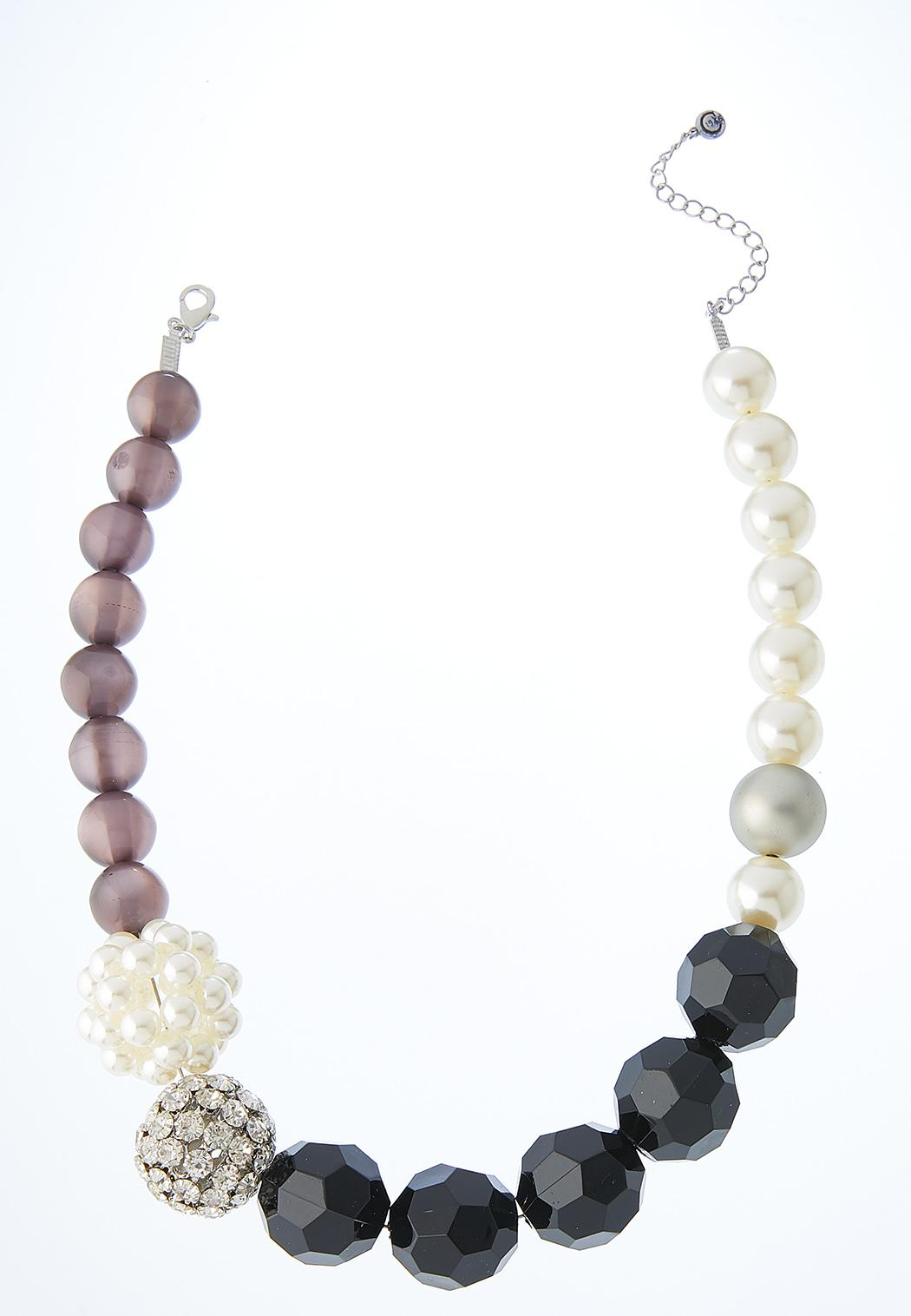 Pearl And Pave Mixed Bead Necklace