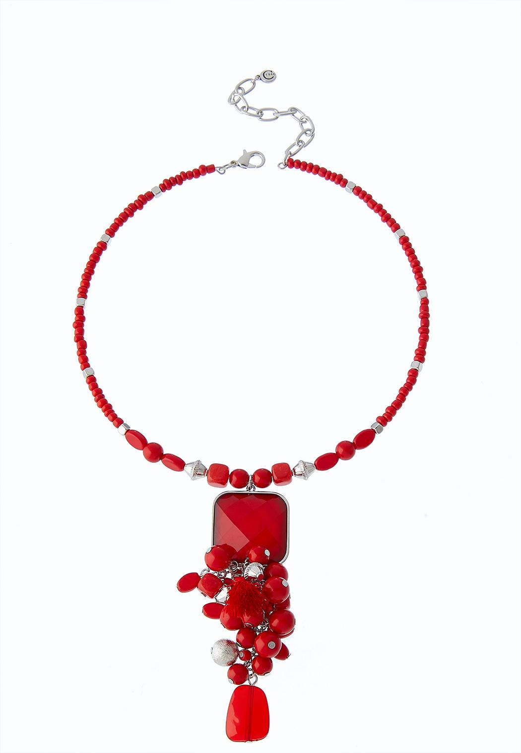 Cluster Bead Wire Necklace
