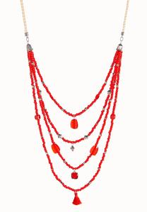 Red Draped Bead Necklace