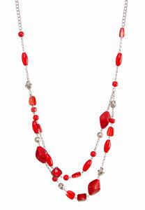 Red Layered Bead Necklace