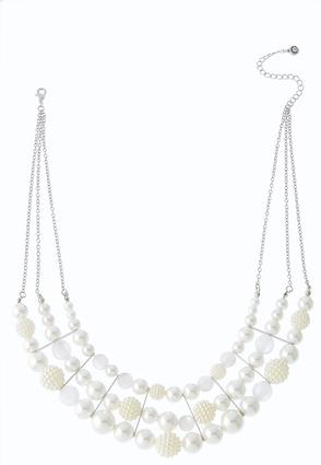Layered Pearl Bib Necklace