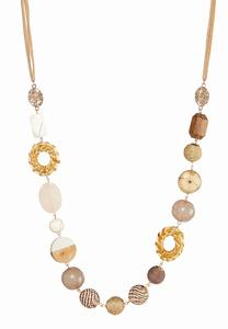 Mixed Material Girl Cord Necklace