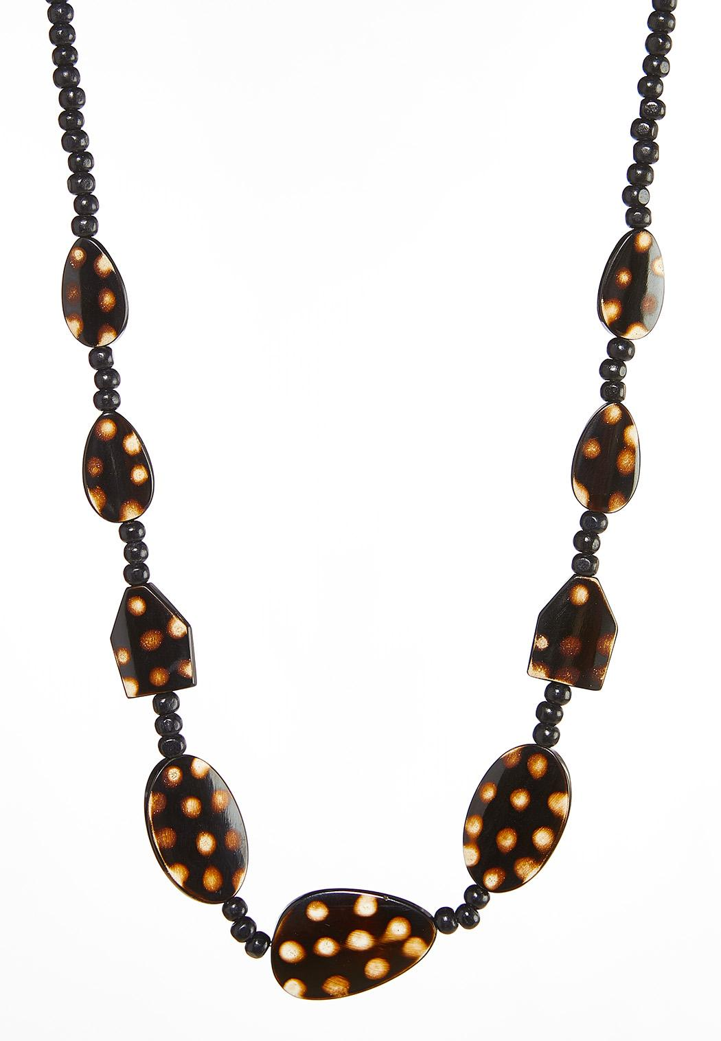 Beaded Resin And Wood Necklace