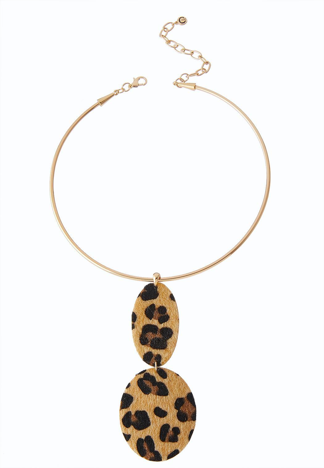 Textured Leopard Pendant Necklace
