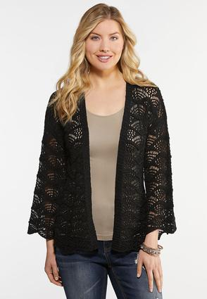 Plus Size Stitched Scalloped Trim Cardigan