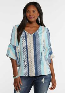 Blue Medallion Stripe Top