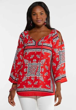 Plus Size Cold Shoulder Bandana Top