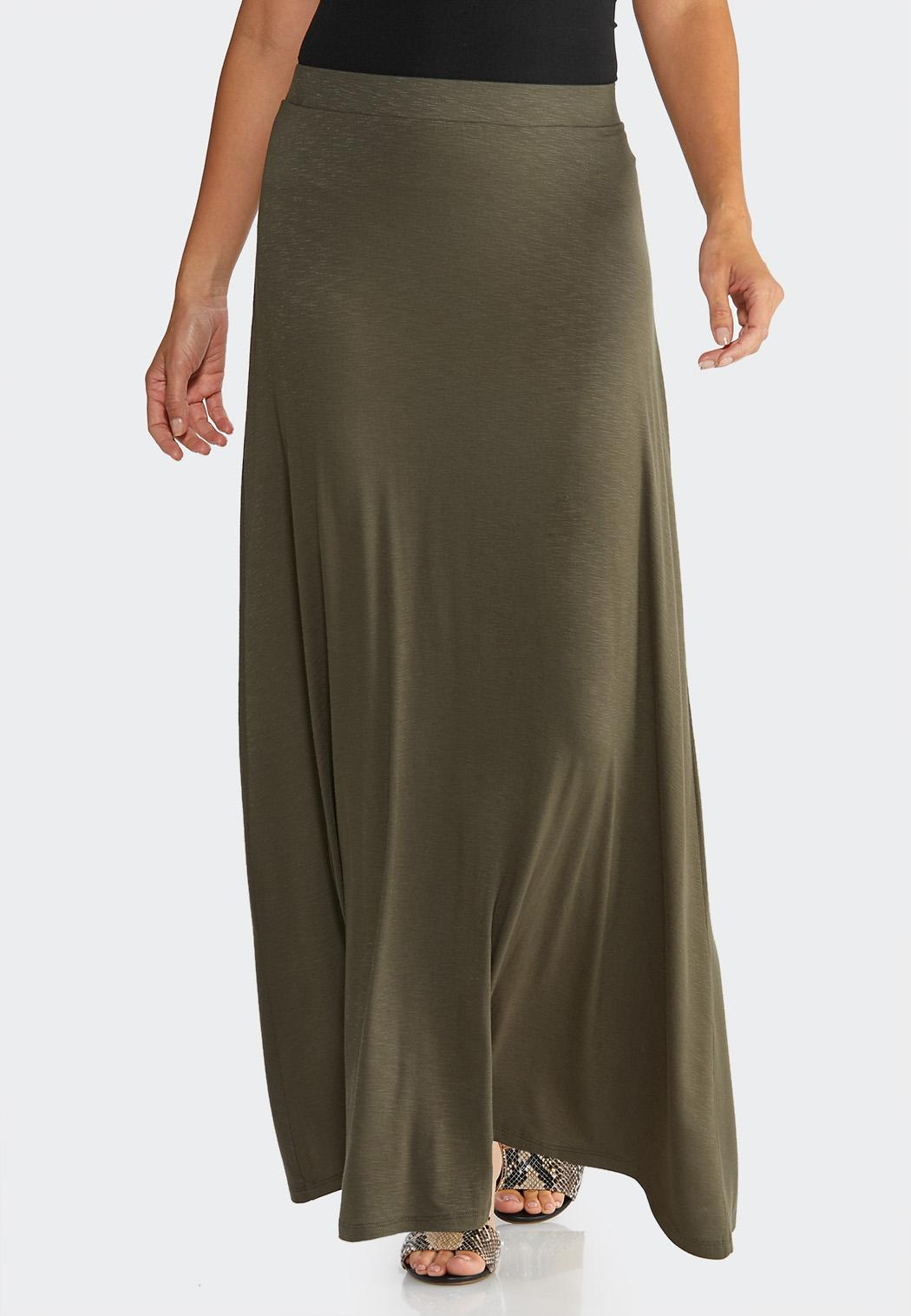 Plus Size Solid Knit Maxi Skirt
