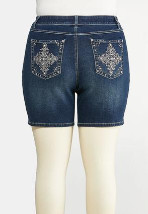 Plus Size Embellished Pocket Denim Shorts