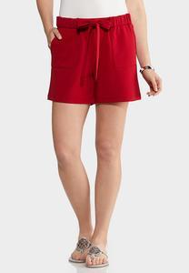 Red Tie Waist Shorts