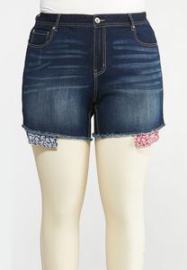 7e0f5e950a3 Plus Size Bandana Pocket Denim Shorts