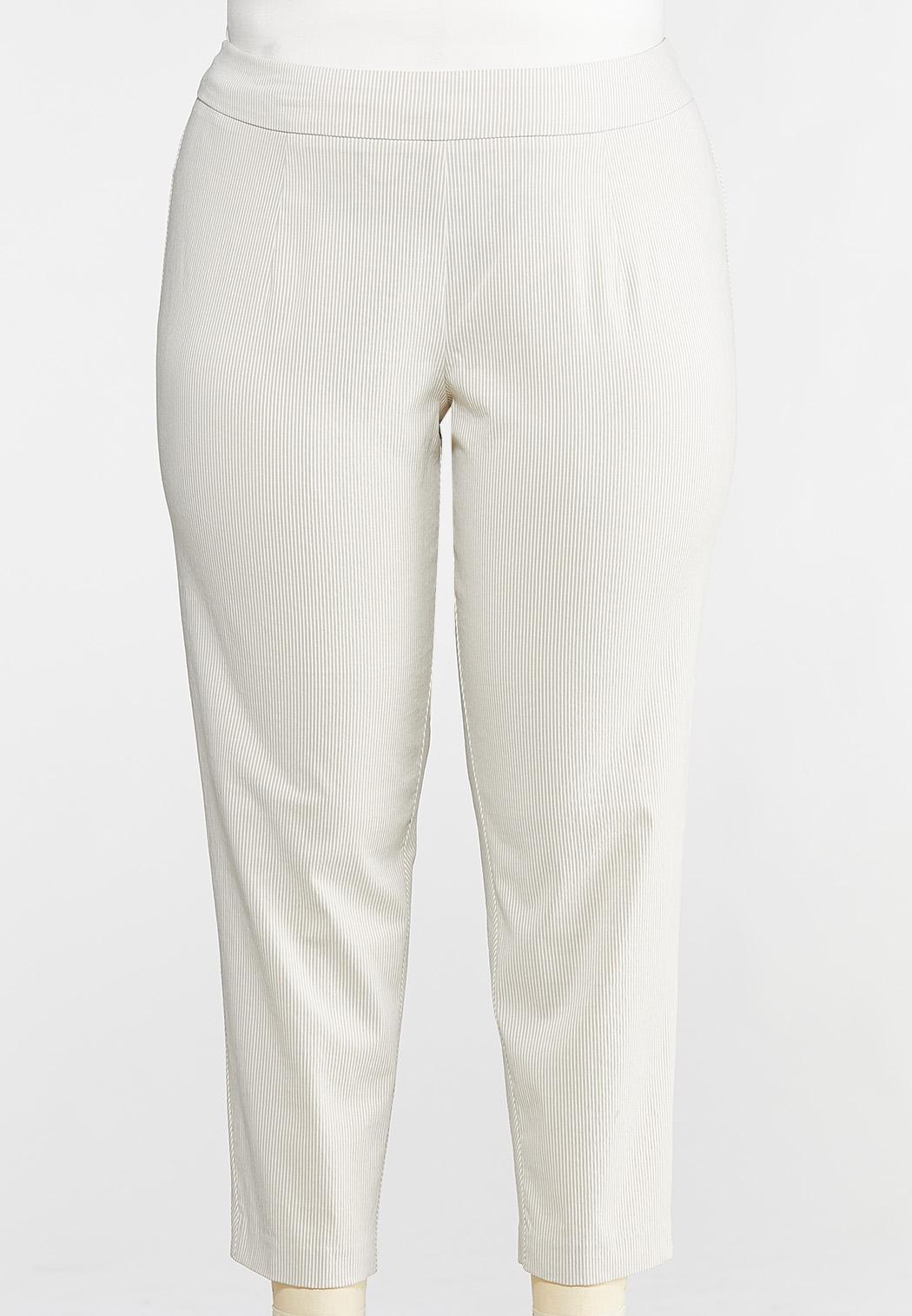 Plus Size Khaki Stripe Bengaline Ankle Pants