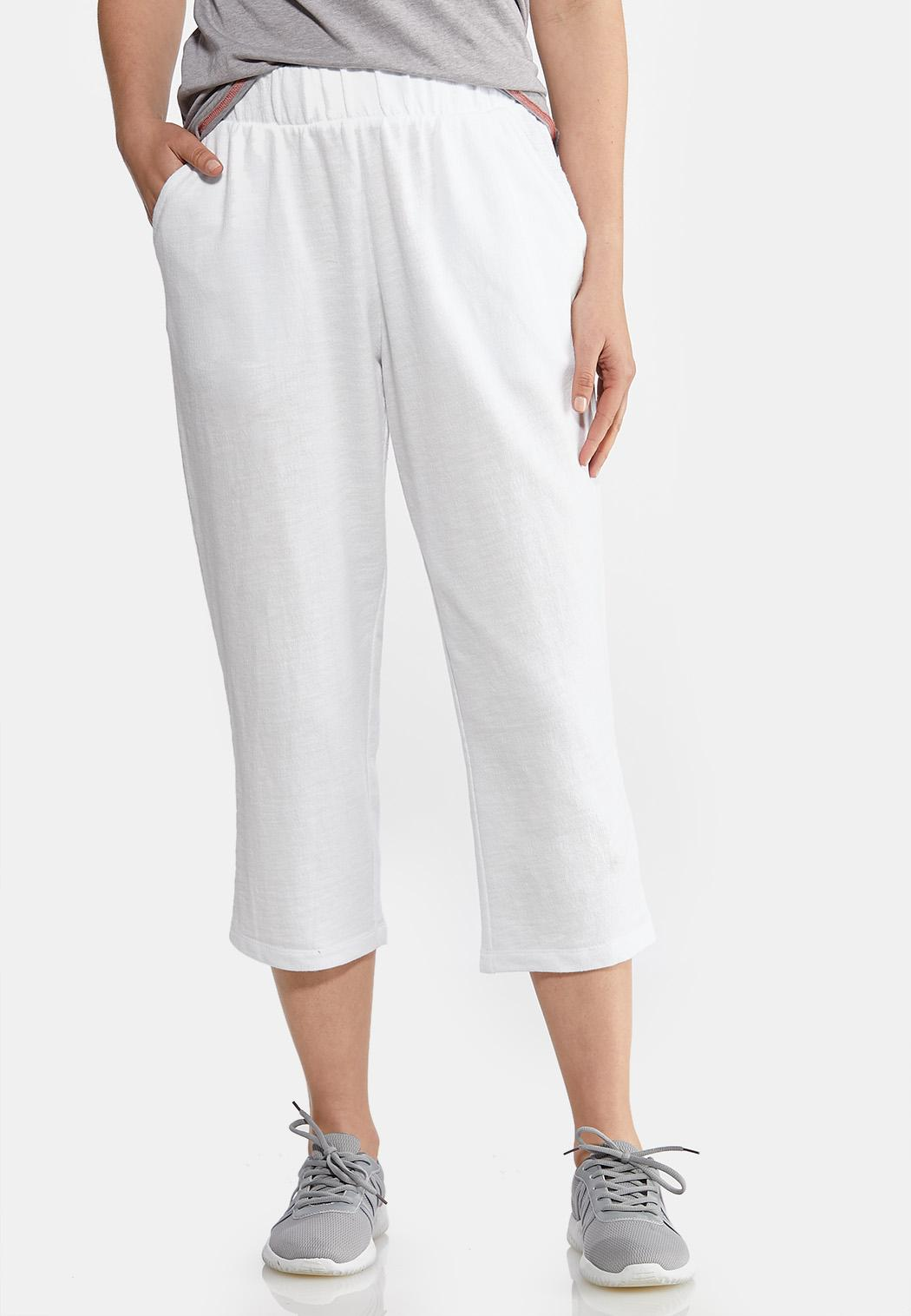 White Terry Cropped Pants