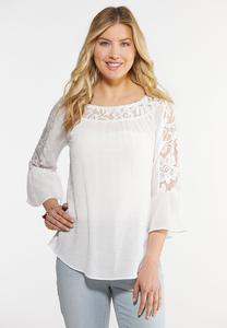 Plus Size Lace Trim Bell Sleeve Top