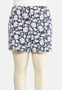 Plus Size Jacquard Floral Shorts