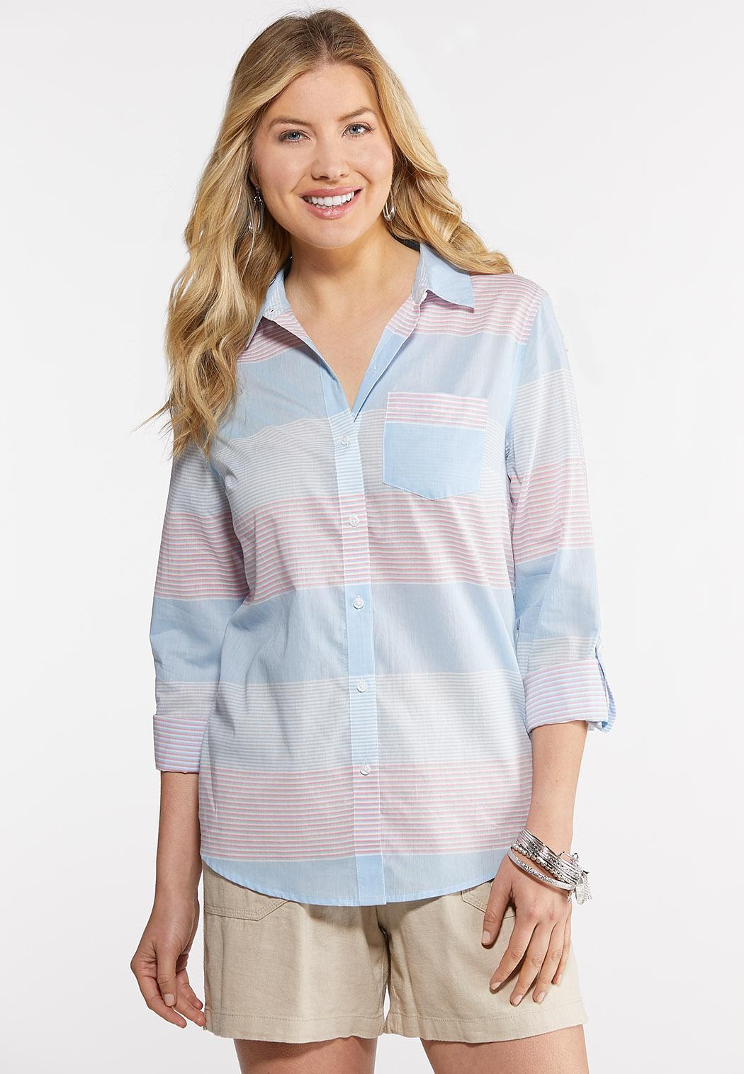 Plus Size Multi Stripe Button Down Shirt Tops Cato Fashions
