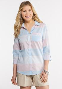 Plus Size Multi Stripe Button Down Shirt