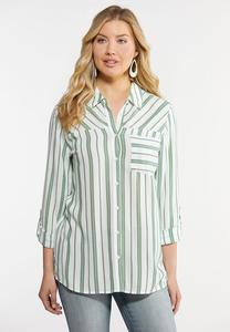 Plus Size Neon Stripe Linen Shirt